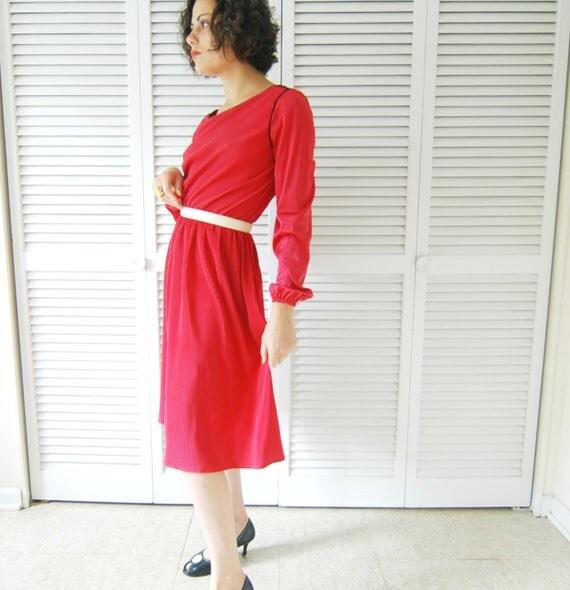 VINTAGE Rockabilly Dress - 1980s - Bright Magenta Flowing Hot Pink Women's Retro Dress- Small / Medium - Elastic Waist