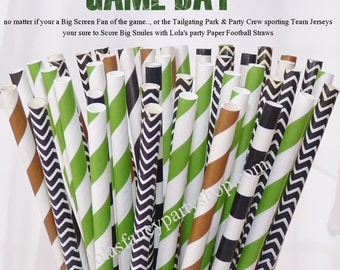 FOOTBALL Game day PARTY Paper STRAWS assorted 30 Referee Black, Football Brown, Turf Green - Tailgating - Game Day