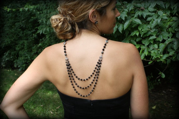 Backdrop Necklace Vintage Necklace Black Necklace Back Drop