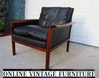 Knut Saeter ( Norway ) Chair Danish Designer vintage mid century midcentury modern Vatne Mobler black leather rosewood Danish