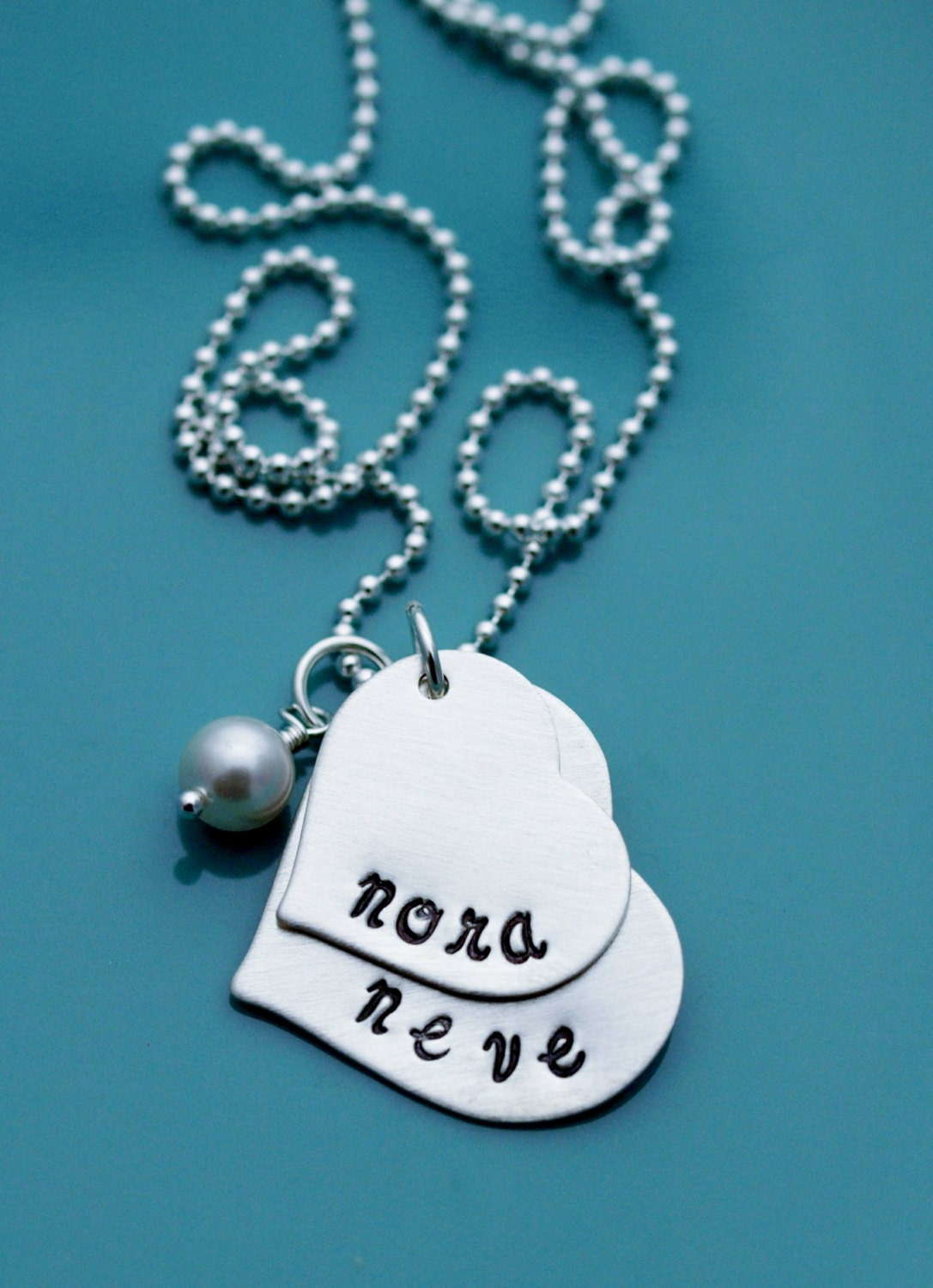Mother 39 s necklace hand stamped w 2 two kids name custom for How do you make hand stamped jewelry