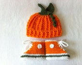 Fall Harvest Pumpkin Hat and Converse Booties- Preemie, Newborn and 3-6 Month- Autumn Infant Photo Prop- Baby Halloween Costume Set Beanie