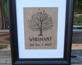Personalized Burlap Name Print - Wedding Gift - Anniversary - Tree