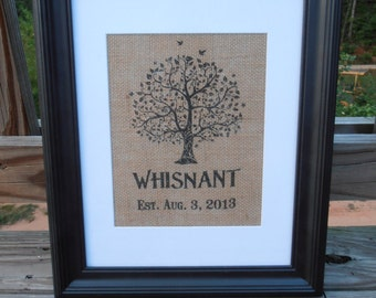 Personalized Burlap Name Print - Wedding Gift - Anniversary - Tree