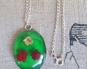Holidays Jewelry Gifts, Real flower silver choker, green retro silver cameo necklaces, edelweiss dry flowers, sweet 16 girly birthday Gifts