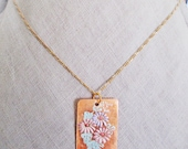 Flower necklace, Cherry Blossom Sakura gold filled necklace, Flowers painted on orange shell rectangle, Preppy chic flower girl jewelry gift