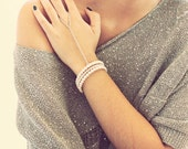 Silver Slave Bracelet, Hand Harness, Ring to chain bracelet, ring slave bracelet, Pearl Bracelet