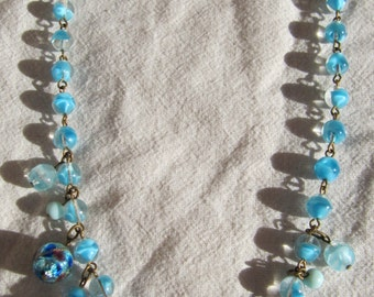 Vintage Blue Glass Rondelle Rhinestone Beaded Necklace