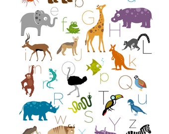 Safari / Jungle Animal Alphabet Print
