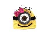Girl Minion Despicable Me inspired Baby Hat  Baby -Photography Prop  0-3 mo 3-6 mo 6-9 mo 9-12 mo 12-24 mo