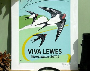 Small Limited Edition Viva Lewes Swallow Giclée Print