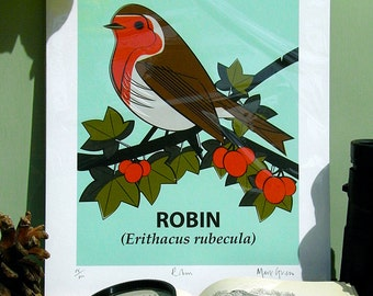 Small Limited Edition Robin (Erithacus rubecula) Giclée Print