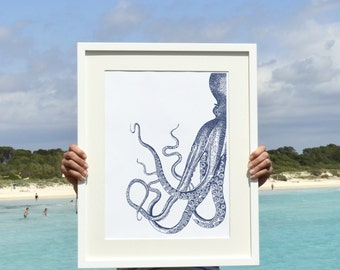 Octopus in navy blue n1- Octopus A3 plus sized Poster Wall Art -  sea life print SPP090