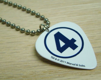 Fantastic Four Guitar Pick Necklace with Stainless Steel Ball Chain