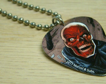 Red Skull Guitar Pick Necklace with Stainless Steel Ball Chain