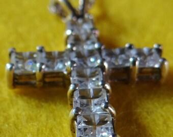 Clear Rhinestone Cross Pendant Necklace