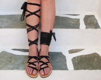 "Gladiator Sandals with black lace straps, Original design ""APHRODITE"" AS27"