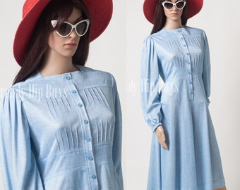 Vintage 60s Dress, Vintage Blue Dress, Mad Men Dress, Aline Dress - M