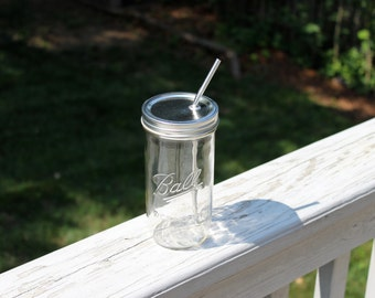 "24oz Ball Jar ""To-Go Cup"" - with an additional ""non-straw lid"" for storage/transport - Upcycled Ball Jar with Reusable Stainless Steel Straw"