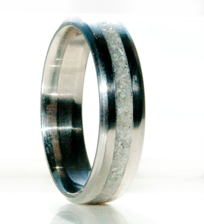 Mens Wedding Band Elk Antler Inlay Wedding Ring