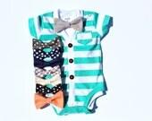 Baby Cardigan and Bow Tie Set - Trendy Baby Boy - Aqua Stripes - Cardigan Onesie