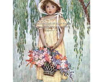 Flower Girl Fabric Block - Basket of Flowers Willow Tree - Repro Jessie Willcox Smith