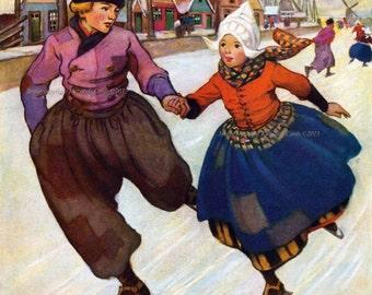 Children Ice Skate Fabric Block - Repro Jessie Willcox Smith - Hans Brinker Illustration