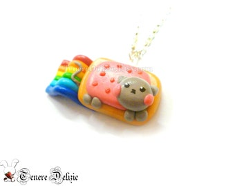 Nyan Cat necklace - polymer clay meme necklace