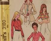 "Shirt Set - 1970's - McCall's Pattern 3180   Uncut  Size 16   Bust 38"""
