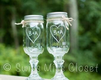 Custom Etched Set of 2  Redneck Wine Glasses 16oz Mason Jar Wine Glasses