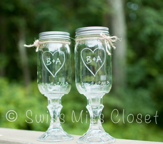 Custom Etched Set of 2  Redneck Wine Glasses 16oz Mason Jar Wine Glasses
