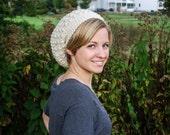 Crochet Slouchy Beanie, Circle--Off-White
