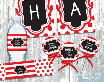 Personalized Red White and Black Printable DIY Party Package - Banner - Cupcake Toppers - Water Wrappers