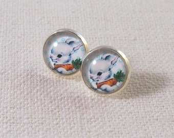 Rabbit Earrings, Vintage Illustration Bunny with Carrot, Kitsch Baby Animal Jewelry Silver Stud Earrings