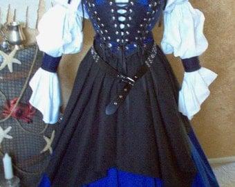 Blue Celtic Pirate Renaisssance Costume Bodice Cuffs Lacing Skirt Set