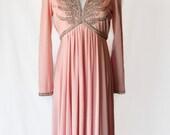 RESERVED - 70s Dress / Pink Dress / Beaded Dress / Formal Dress / Vintage Dresses