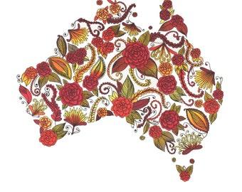"Australia Red Orange Yellow Patterned Art Print 8""x10"""