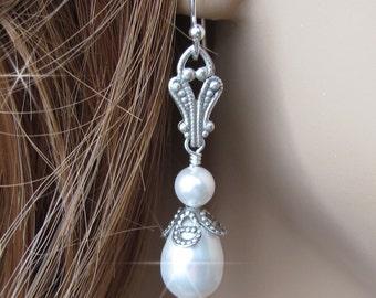 Vintage Inspired Pearl Drop Earrings, Antique Style Bridal Earrings For Flower Girl, Bridesmaid, Mother of The Bride, Teardop Pearl Earrings