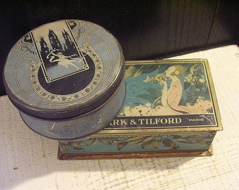 Shabby Art Deco Blue Boxes, Two Decorative Tins, 1920s, DENTED Distressed, Antique Tin Boxes, Vintage Candy Tin, Powder Box, Cottage Chic