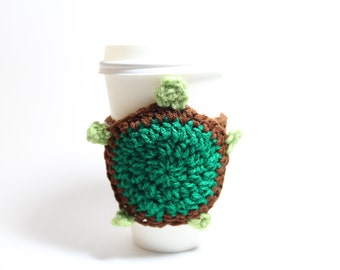 Turtle Coffee Cozy, Animal Can holder, Coffee Sleeve, Crochet Travel Drink Cup Holder, Java Jacket