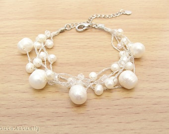 White freshwater pearl bracelet with crystal on silk thread, wedding accessories, bridal jewelry