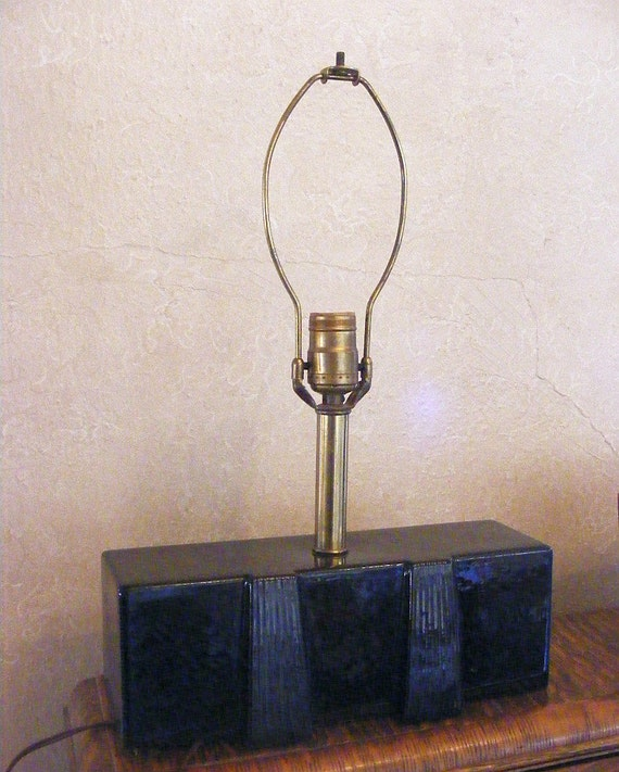 vintage mid century lamp black gloss ceramic 1950s retro low profile. Black Bedroom Furniture Sets. Home Design Ideas