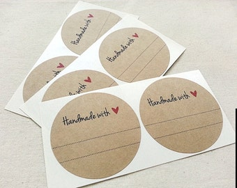 40 Mason Jar Labels Handmade with Love / Red Heart Labels Canning Labels Christmas Gift Wrap Xmas Envelope Seals