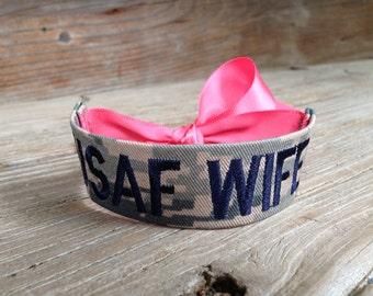 USAF Wife / Air Force Wife / Name Tape Bracelet / ABU / U.S. Air Force