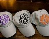 SALE-MONOGRAMMED Hat Available in Khaki, Navy, Black, White, Red & Pink