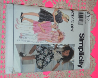 Simplicity 8917 Girls Dress or Romper and Hat Sewing Pattern - UNCUT - Sizes12 -14