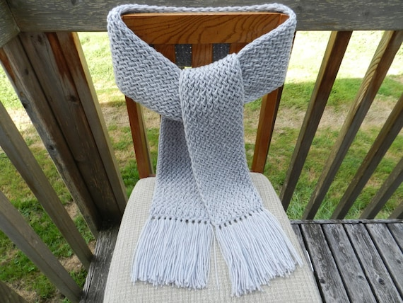 Knitting Loom Scarf Fringe : Gray Knit Scarf Loom Knitted Mens Gray Scarf by yarnworksandmore