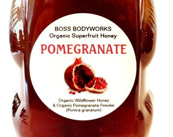 POMEGRANATE Organic Superfruit Honey-12oz- herbal, flavored, infused wildflower honey, non-gmo, kosher, fair trade