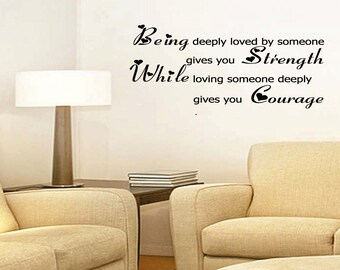 Being Deeply Loved In Love Strength Courage Quote Home Decor Wall Art Vinyl Sticker Design Removable Lettering Cupid Romance(347)