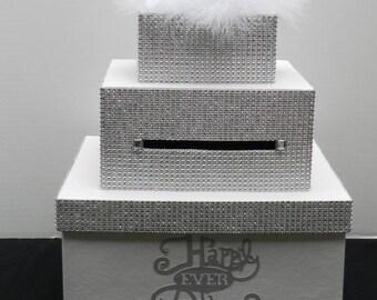 White Cinderella Bling  Wedding Card Box Diamond Mesh Ribbon Fairytale Wedding Sweet 16 Bridal Shower